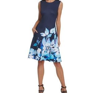 NEW DKNY Fit & Flare Scuba Floral Dress